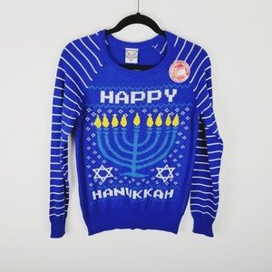 ugly Christmas Hanukkah sequined holiday sweater